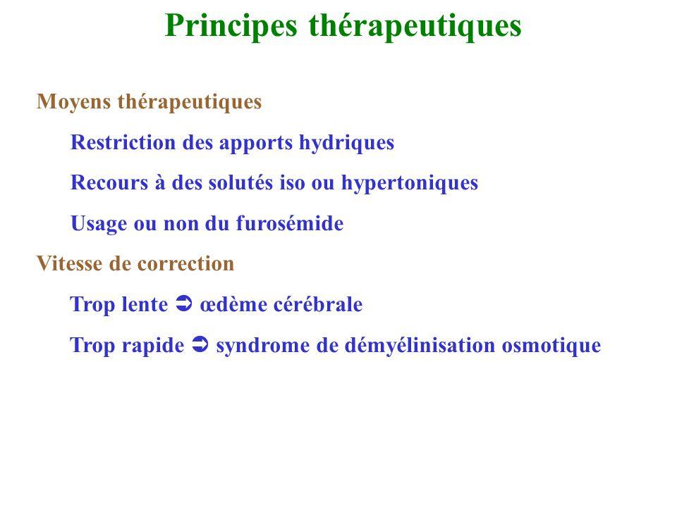 Principes thérapeutiques Moyens thérapeutiques Restriction des apports hydriques Recours à des solutés iso ou hypertoniques Usage ou non du furosémide