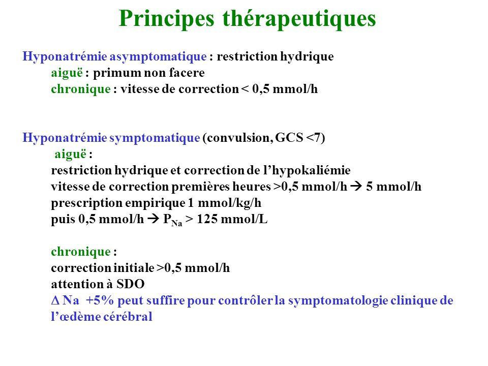 Hyponatrémie asymptomatique : restriction hydrique aiguë : primum non facere chronique : vitesse de correction < 0,5 mmol/h Hyponatrémie symptomatique