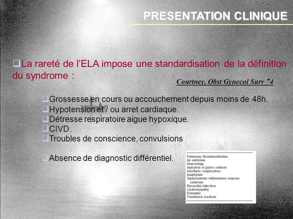 PRESENTATION CLINIQUE La rareté de lELA impose une standardisation de la définition du syndrome : Grossesse en cours ou accouchement depuis moins de 4