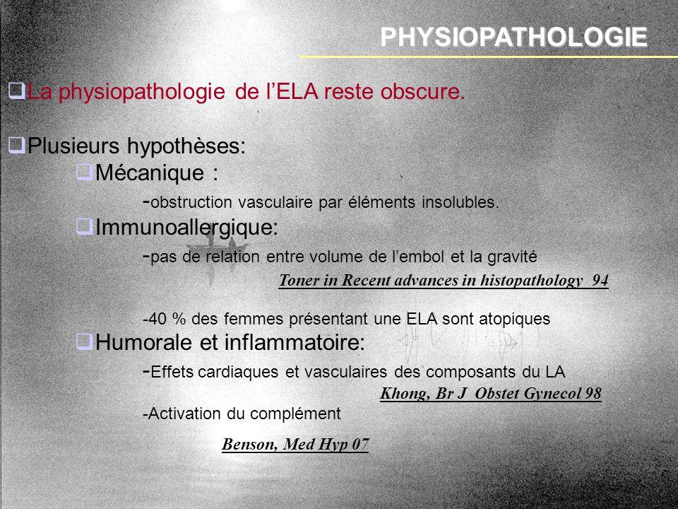 PHYSIOPATHOLOGIE Khong, Br J Obstet Gynecol 98 La physiopathologie de lELA reste obscure. Plusieurs hypothèses: Mécanique : - obstruction vasculaire p