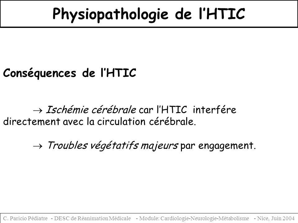 C. Paricio Pédiatre - DESC de Réanimation Médicale - Module: Cardiologie-Neurologie-Métabolisme - Nice, Juin 2004 Physiopathologie de lHTIC Conséquenc