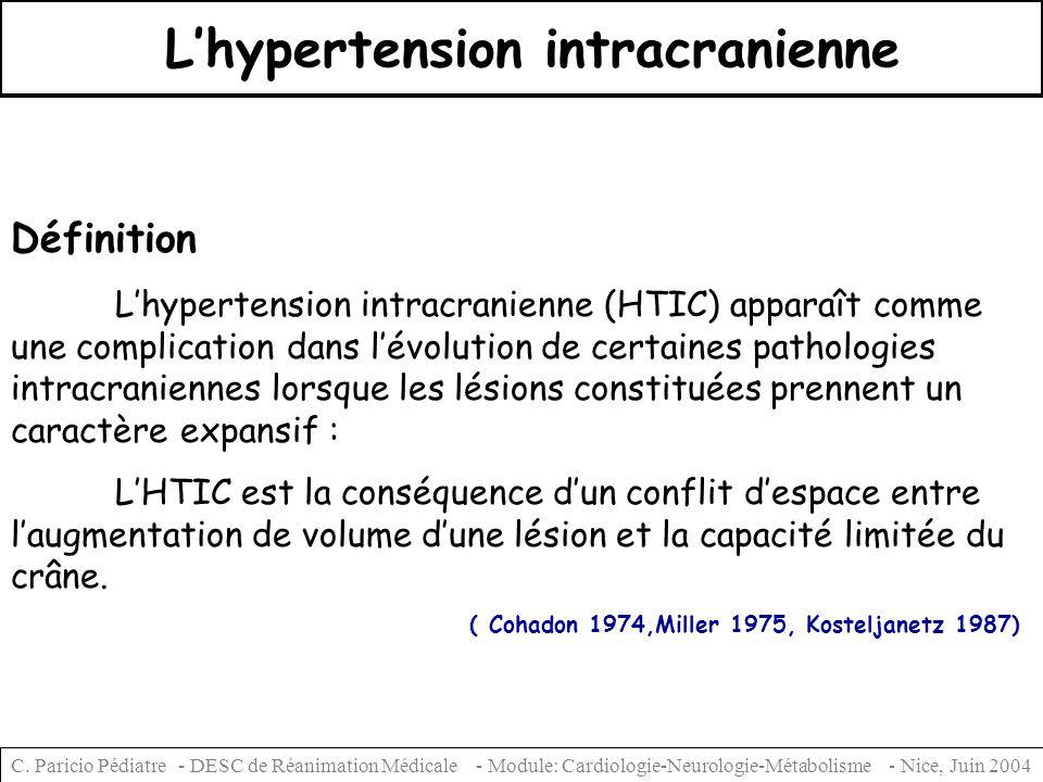 C. Paricio Pédiatre - DESC de Réanimation Médicale - Module: Cardiologie-Neurologie-Métabolisme - Nice, Juin 2004 Lhypertension intracranienne Définit