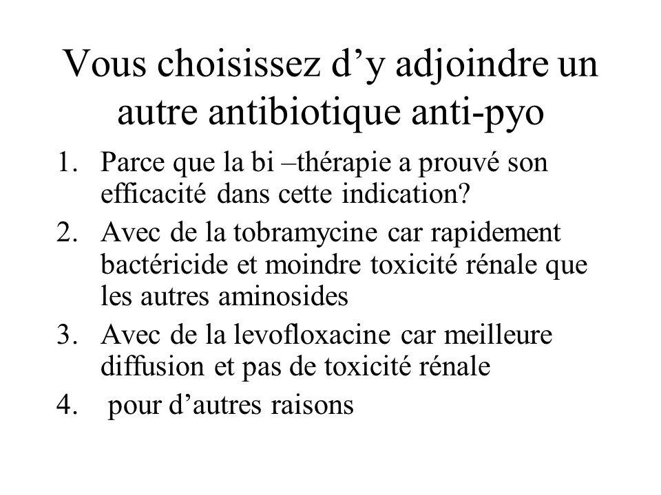 Vous choisissez dy adjoindre un autre antibiotique anti-pyo 1.Parce que la bi –thérapie a prouvé son efficacité dans cette indication? 2.Avec de la to