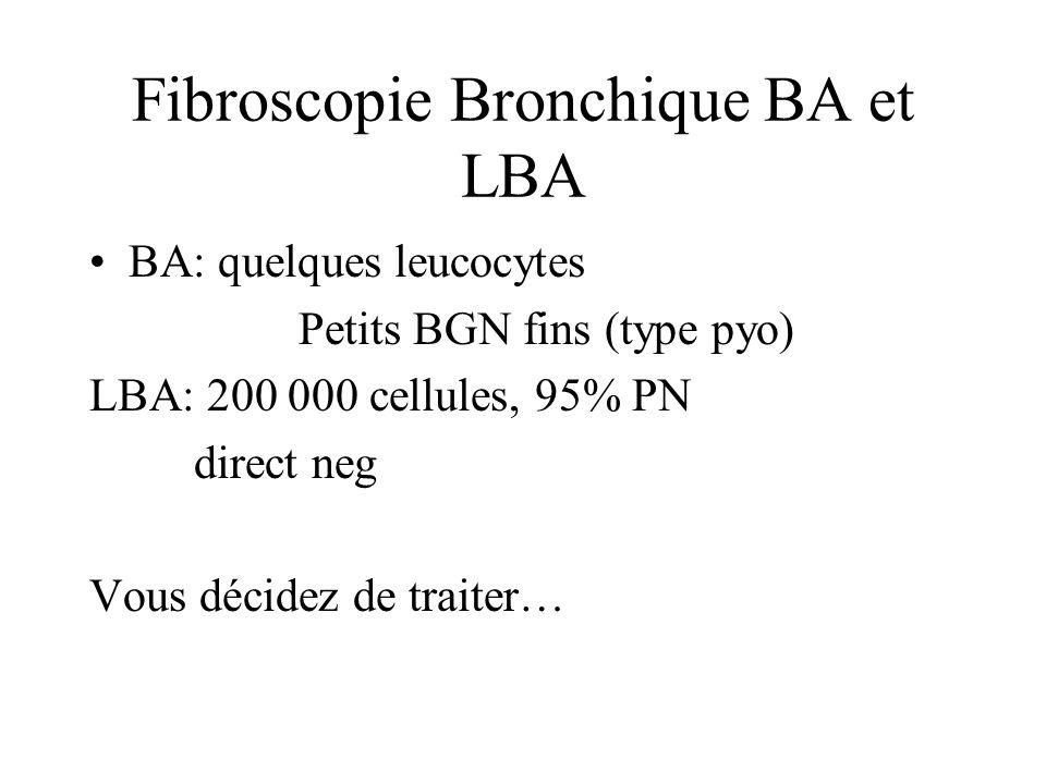 Fibroscopie Bronchique BA et LBA BA: quelques leucocytes Petits BGN fins (type pyo) LBA: 200 000 cellules, 95% PN direct neg Vous décidez de traiter…