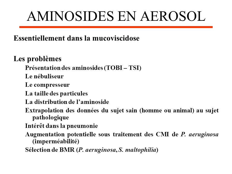 AMINOSIDES EN AEROSOL Essentiellement dans la mucoviscidose Les problèmes Présentation des aminosides (TOBI – TSI) Le nébuliseur Le compresseur La tai
