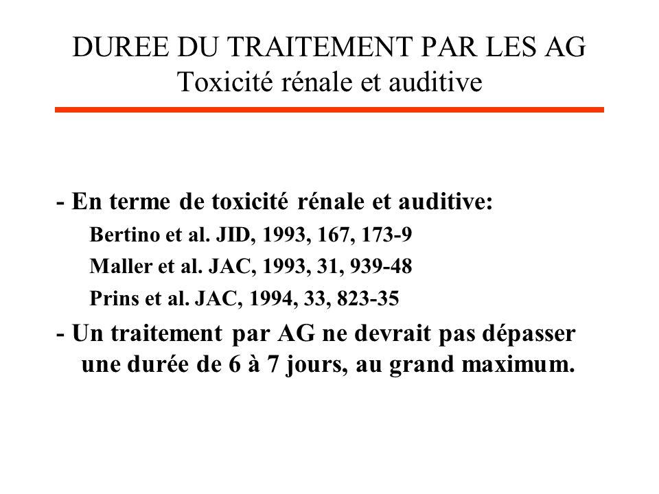 DUREE DU TRAITEMENT PAR LES AG Toxicité rénale et auditive - En terme de toxicité rénale et auditive: Bertino et al. JID, 1993, 167, 173-9 Maller et a