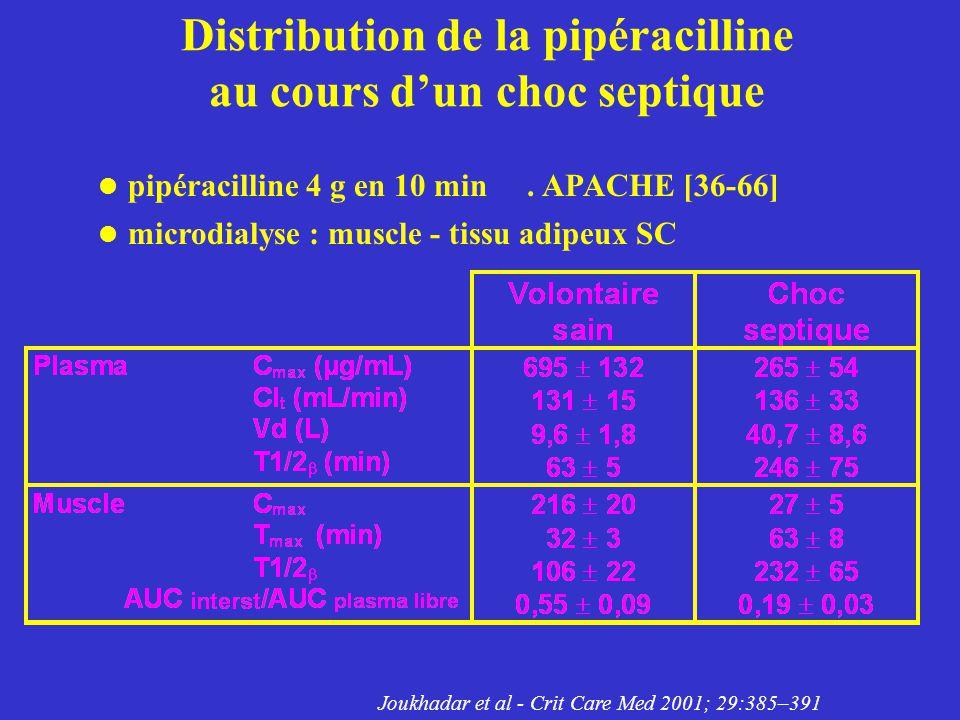 Distribution de la pipéracilline au cours dun choc septique pipéracilline 4 g en 10 min. APACHE [36-66] microdialyse : muscle - tissu adipeux SC Joukh