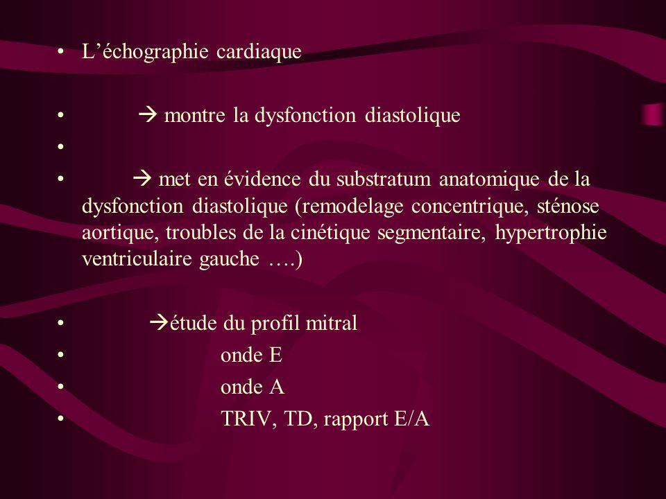 Léchographie cardiaque montre la dysfonction diastolique met en évidence du substratum anatomique de la dysfonction diastolique (remodelage concentriq
