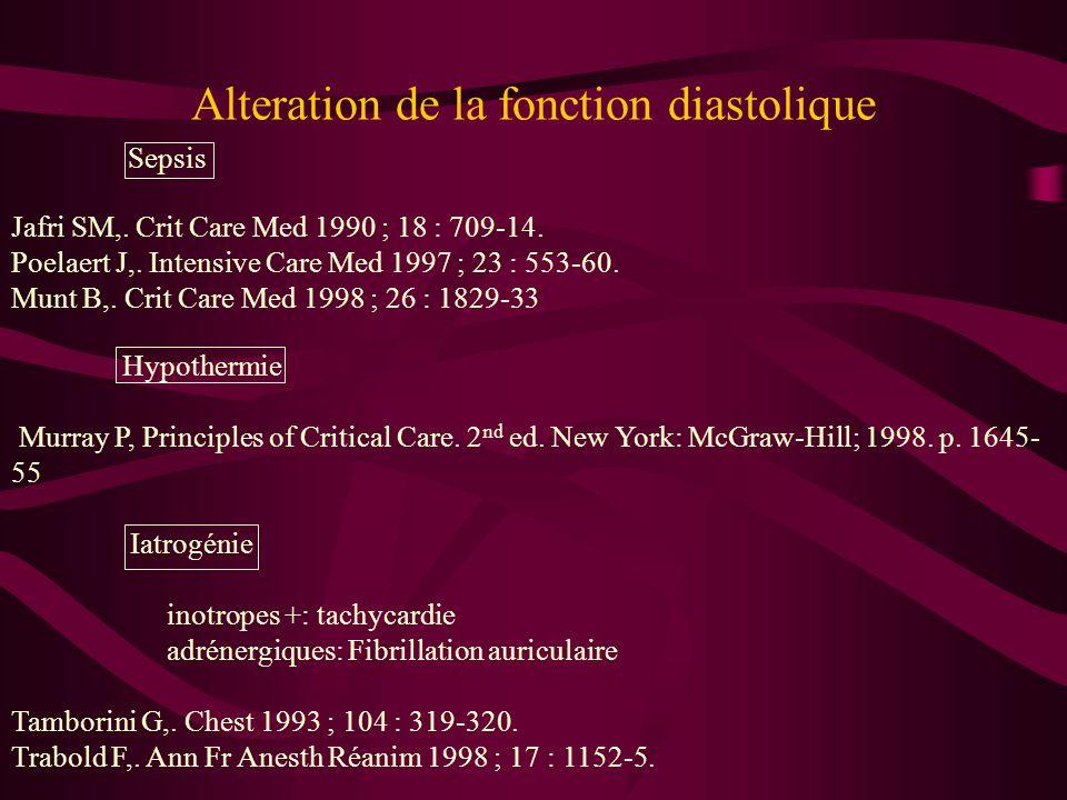 Alteration de la fonction diastolique Sepsis Jafri SM,. Crit Care Med 1990 ; 18 : 709-14. Poelaert J,. Intensive Care Med 1997 ; 23 : 553-60. Munt B,.