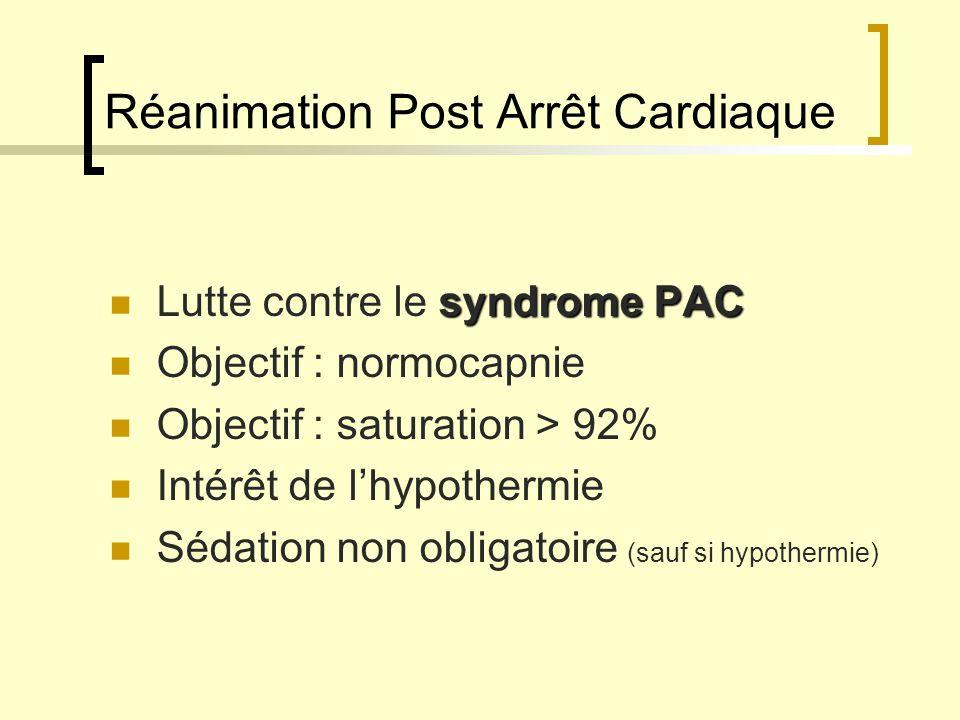 Réanimation Post Arrêt Cardiaque syndrome PAC Lutte contre le syndrome PAC Objectif : normocapnie Objectif : saturation > 92% Intérêt de lhypothermie