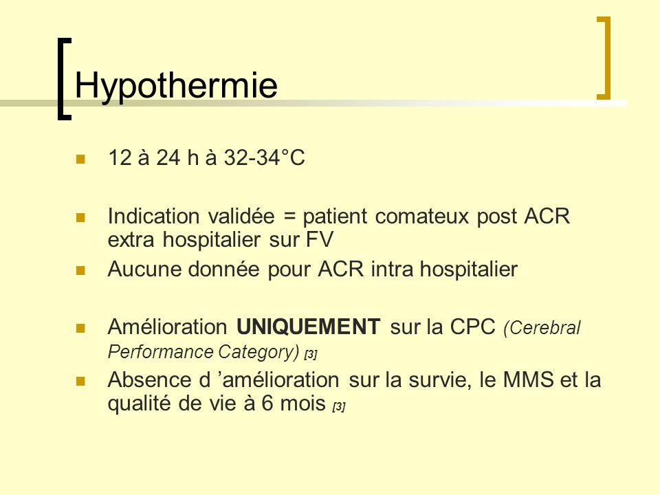 Hypothermie 12 à 24 h à 32-34°C Indication validée = patient comateux post ACR extra hospitalier sur FV Aucune donnée pour ACR intra hospitalier Améli