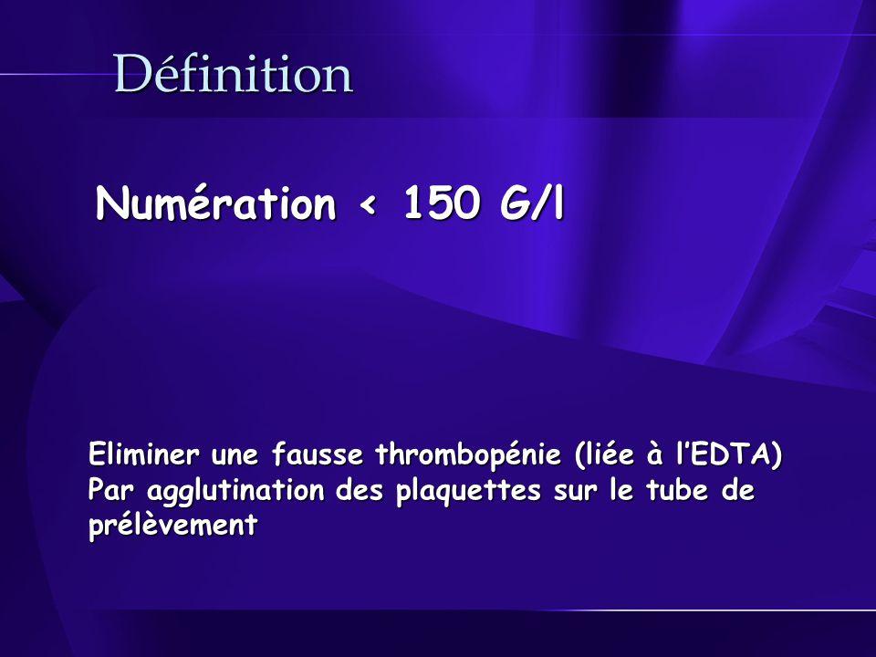 Définition Numération < 150 G/l Eliminer une fausse thrombopénie (liée à lEDTA) Par agglutination des plaquettes sur le tube de prélèvement