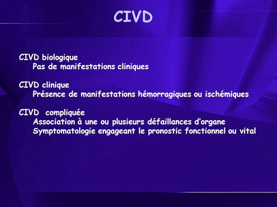 CIVD biologique Pas de manifestations cliniques CIVD clinique Présence de manifestations hémorragiques ou ischémiques CIVD compliquée Association à une ou plusieurs défaillances dorgane Symptomatologie engageant le pronostic fonctionnel ou vital CIVD