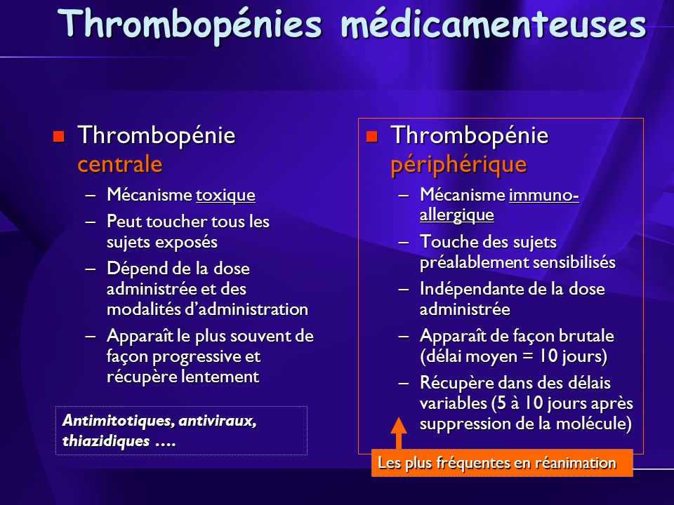 Thrombopénies médicamenteuses Thrombopénie centrale Thrombopénie centrale –Mécanisme toxique –Peut toucher tous les sujets exposés –Dépend de la dose administrée et des modalités dadministration –Apparaît le plus souvent de façon progressive et récupère lentement Thrombopénie périphérique Thrombopénie périphérique –Mécanisme immuno- allergique –Touche des sujets préalablement sensibilisés –Indépendante de la dose administrée –Apparaît de façon brutale (délai moyen = 10 jours) –Récupère dans des délais variables (5 à 10 jours après suppression de la molécule) Antimitotiques, antiviraux, thiazidiques ….