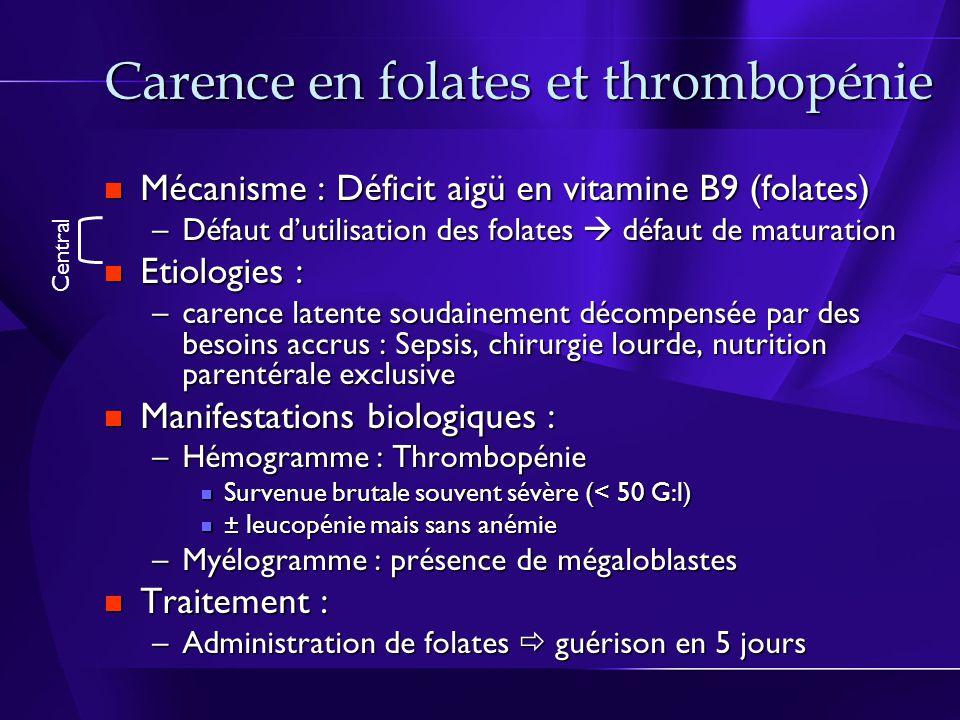 Carence en folates et thrombopénie Mécanisme : Déficit aigü en vitamine B9 (folates) Mécanisme : Déficit aigü en vitamine B9 (folates) –Défaut dutilisation des folates défaut de maturation Etiologies : Etiologies : –carence latente soudainement décompensée par des besoins accrus : Sepsis, chirurgie lourde, nutrition parentérale exclusive Manifestations biologiques : Manifestations biologiques : –Hémogramme : Thrombopénie Survenue brutale souvent sévère (< 50 G:l) Survenue brutale souvent sévère (< 50 G:l) ± leucopénie mais sans anémie ± leucopénie mais sans anémie –Myélogramme : présence de mégaloblastes Traitement : Traitement : –Administration de folates guérison en 5 jours Central