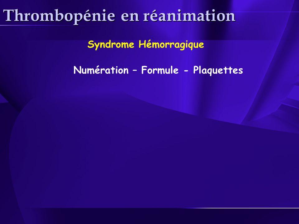 Thrombopénie en réanimation Syndrome Hémorragique Numération – Formule - Plaquettes