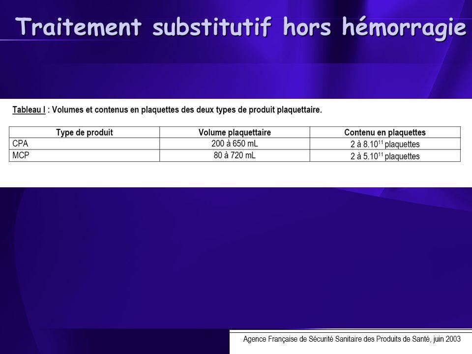 Traitement substitutif hors hémorragie