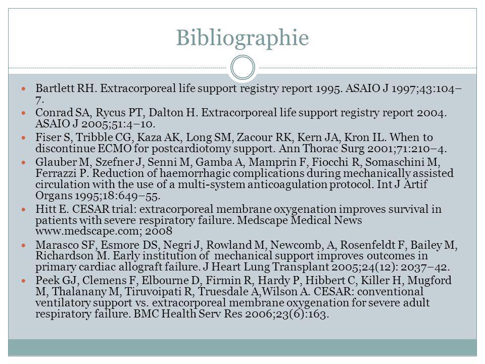 Bibliographie Bartlett RH. Extracorporeal life support registry report 1995. ASAIO J 1997;43:104– 7. Conrad SA, Rycus PT, Dalton H. Extracorporeal lif