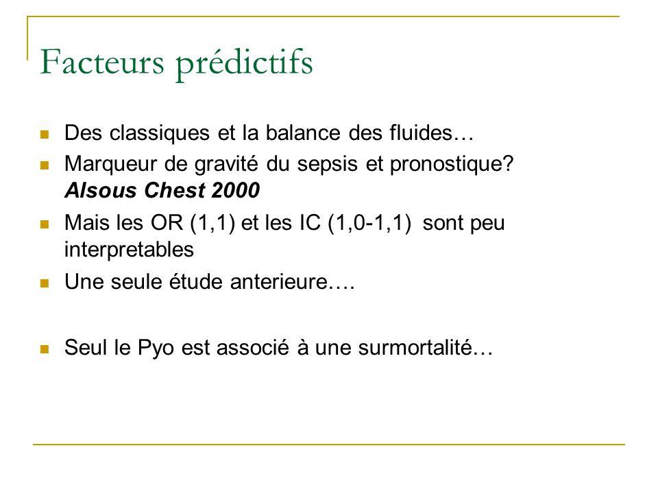 Facteurs prédictifs Des classiques et la balance des fluides… Marqueur de gravité du sepsis et pronostique? Alsous Chest 2000 Mais les OR (1,1) et les