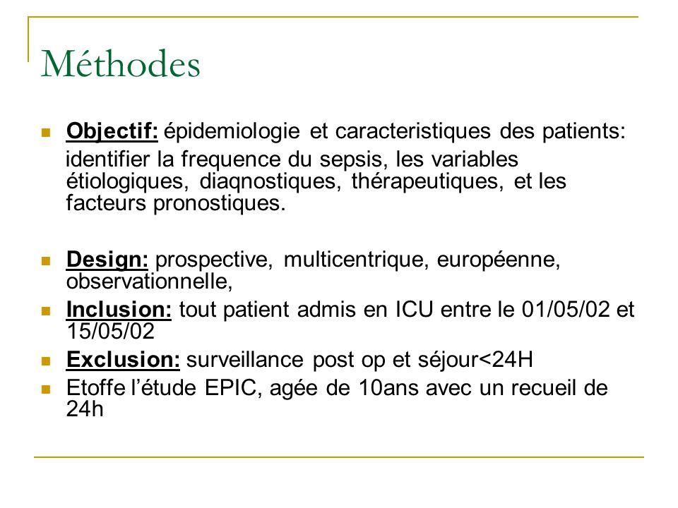 Méthodes Objectif: épidemiologie et caracteristiques des patients: identifier la frequence du sepsis, les variables étiologiques, diaqnostiques, théra
