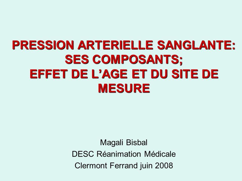 PRESSION ARTERIELLE SANGLANTE: SES COMPOSANTS; EFFET DE LAGE ET DU SITE DE MESURE Magali Bisbal DESC Réanimation Médicale Clermont Ferrand juin 2008