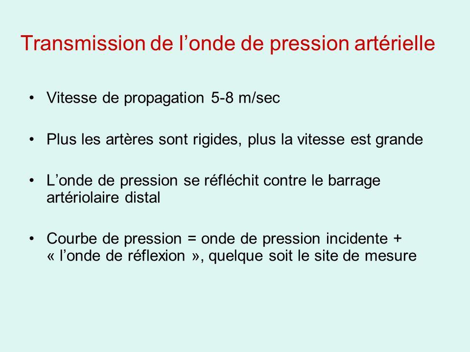 Transmission de londe de pression artérielle Vitesse de propagation 5-8 m/sec Plus les artères sont rigides, plus la vitesse est grande Londe de pression se réfléchit contre le barrage artériolaire distal Courbe de pression = onde de pression incidente + « londe de réflexion », quelque soit le site de mesure