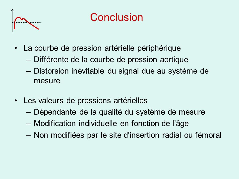 Conclusion La courbe de pression artérielle périphérique –Différente de la courbe de pression aortique –Distorsion inévitable du signal due au système