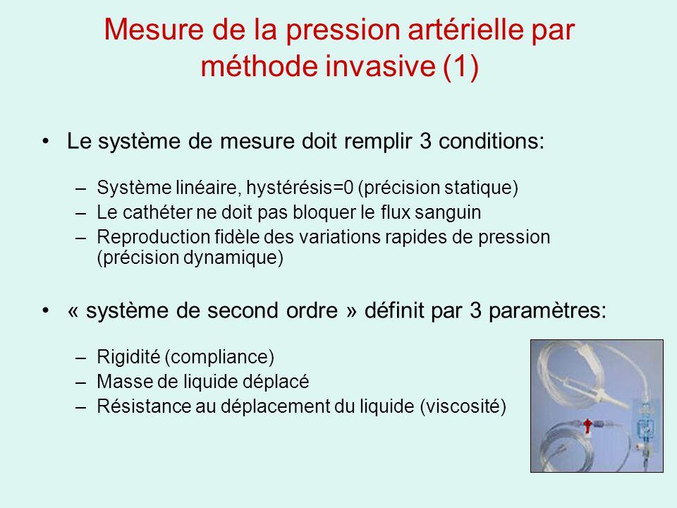 Mesure de la pression artérielle par méthode invasive (1) Le système de mesure doit remplir 3 conditions: –Système linéaire, hystérésis=0 (précision s
