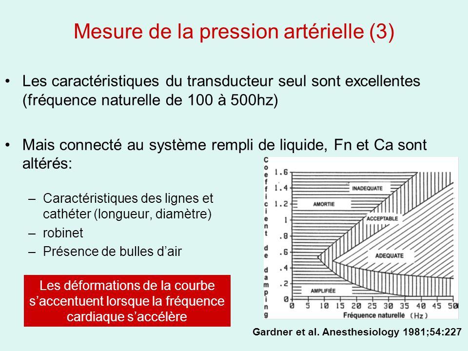 Mesure de la pression artérielle (3) Les caractéristiques du transducteur seul sont excellentes (fréquence naturelle de 100 à 500hz) Mais connecté au