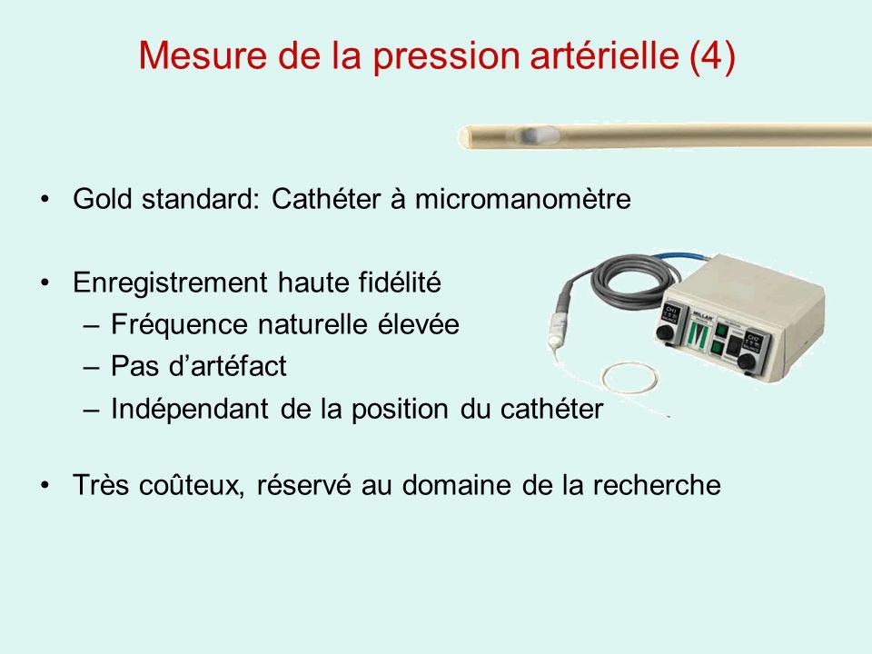 Mesure de la pression artérielle (4) Gold standard: Cathéter à micromanomètre Enregistrement haute fidélité –Fréquence naturelle élevée –Pas dartéfact
