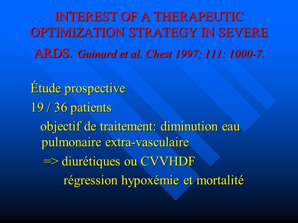 INTEREST OF A THERAPEUTIC OPTIMIZATION STRATEGY IN SEVERE ARDS. Guinard et al. Chest 1997; 111: 1000-7. Étude prospective 19 / 36 patients objectif de