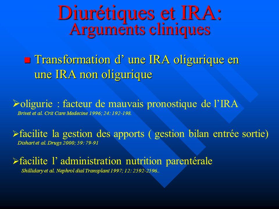Diurétiques et IRA: Arguments cliniques Transformation d une IRA oligurique en une IRA non oligurique Transformation d une IRA oligurique en une IRA n