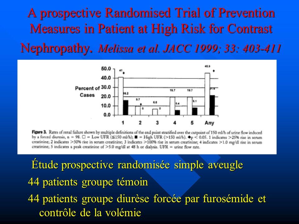A prospective Randomised Trial of Prevention Measures in Patient at High Risk for Contrast Nephropathy. Melissa et al. JACC 1999; 33: 403-411 Étude pr