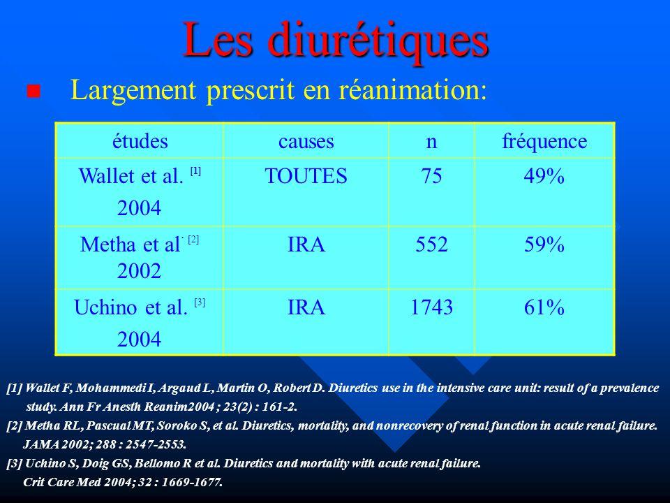 Les diurétiques Largement prescrit en réanimation: [1] Wallet F, Mohammedi I, Argaud L, Martin O, Robert D. Diuretics use in the intensive care unit: