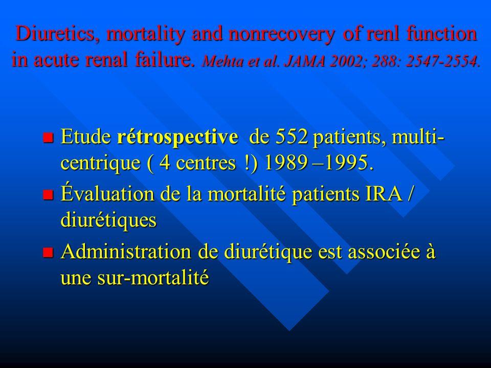 Diuretics, mortality and nonrecovery of renl function in acute renal failure. Mehta et al. JAMA 2002; 288: 2547-2554. Etude rétrospective de 552 patie