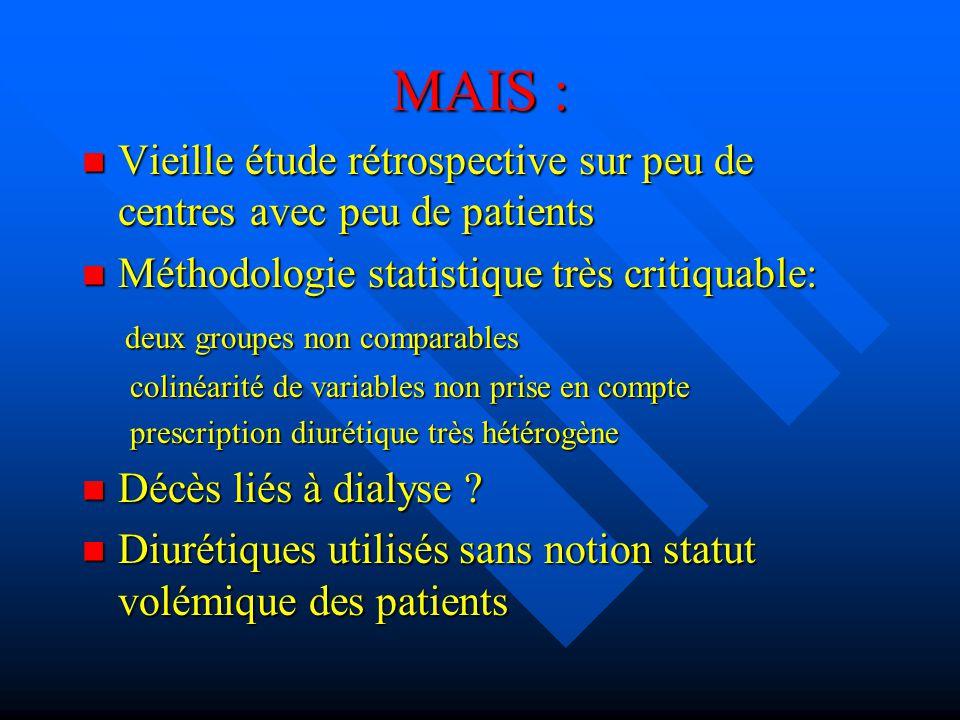 MAIS : Vieille étude rétrospective sur peu de centres avec peu de patients Vieille étude rétrospective sur peu de centres avec peu de patients Méthodo
