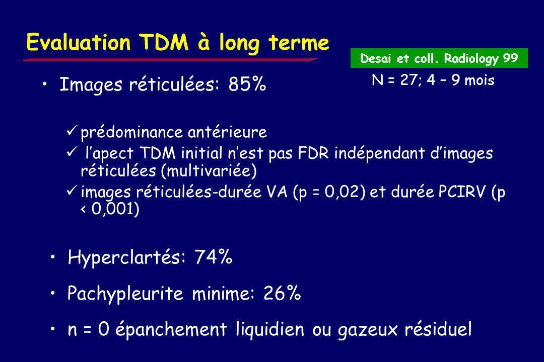 Evaluation radiographique à long terme Radio à 2 mois et plus (résultats daprès 129 cas de la littérature) syndrome interstitiel: 11% emphysème: 7% Al