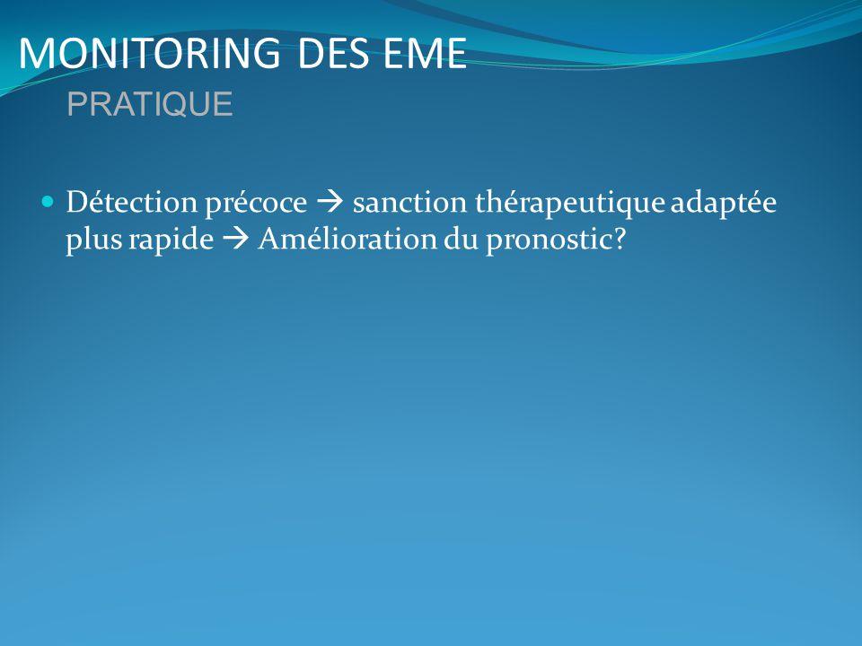 MONITORING DES EME Détection précoce sanction thérapeutique adaptée plus rapide Amélioration du pronostic? PRATIQUE
