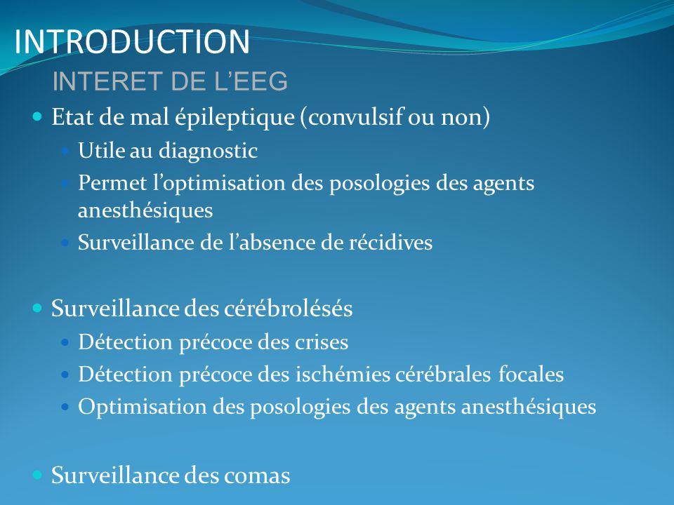 INTRODUCTION Etat de mal épileptique (convulsif ou non) Utile au diagnostic Permet loptimisation des posologies des agents anesthésiques Surveillance
