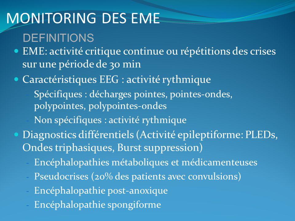MONITORING DES EME EME: activité critique continue ou répétitions des crises sur une période de 30 min Caractéristiques EEG : activité rythmique - Spé