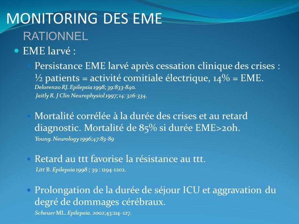 MONITORING DES EME Détection précoce sanction thérapeutique adaptée plus rapide Amélioration du pronostic.