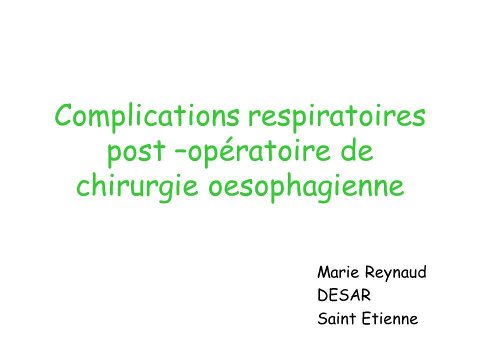 Complications respiratoires post –opératoire de chirurgie oesophagienne Marie Reynaud DESAR Saint Etienne