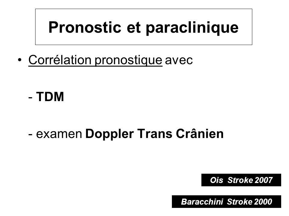 Pronostic et paraclinique Corrélation pronostique avec - TDM - examen Doppler Trans Crânien Baracchini Stroke 2000 Ois Stroke 2007