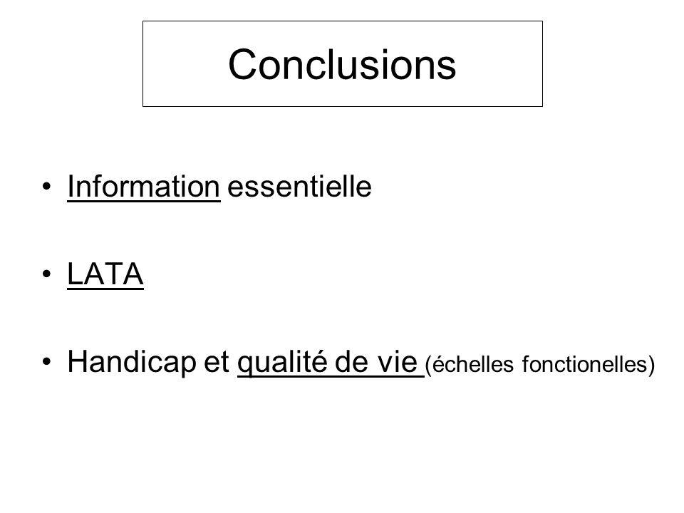 Information essentielle LATA Handicap et qualité de vie (échelles fonctionelles) Conclusions