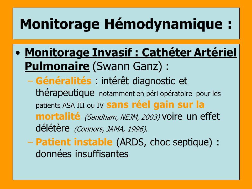 Monitorage Hémodynamique : Monitorage Invasif : Cathéter Artériel Pulmonaire (Swann Ganz) : –Généralités : intérêt diagnostic et thérapeutique notamme