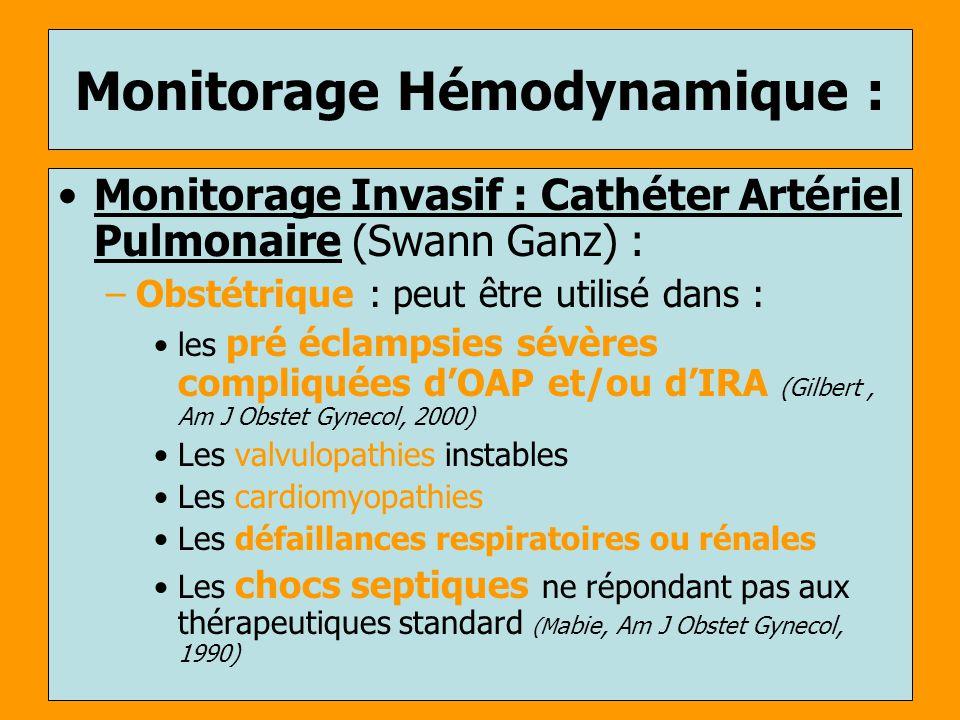 Monitorage Hémodynamique : Monitorage Invasif : Cathéter Artériel Pulmonaire (Swann Ganz) : –Obstétrique : peut être utilisé dans : les pré éclampsies