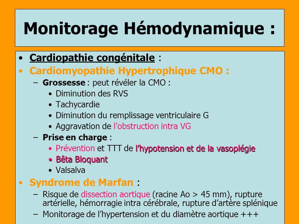 Monitorage Hémodynamique : Cardiopathie congénitale : Cardiomyopathie Hypertrophique CMO : –Grossesse : peut révéler la CMO : Diminution des RVS Tachy