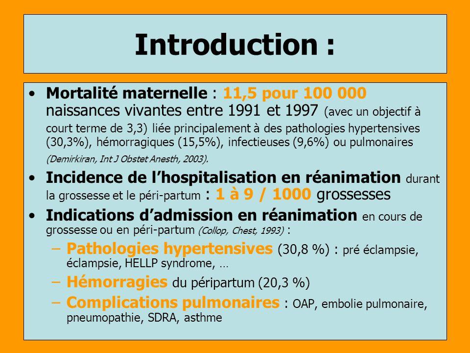 Introduction : Mortalité maternelle : 11,5 pour 100 000 naissances vivantes entre 1991 et 1997 (avec un objectif à court terme de 3,3) liée principale