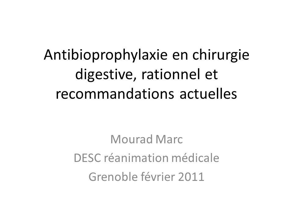 Mais… Prescription fréquente: – 10 à 15% des hospitalisés – 30 à 50% des antibiotiques prescrits Souvent inappropriée (jusquà 90%!) notamment en chirurgie digestive Avec des conséquences: – Résistance bactérienne