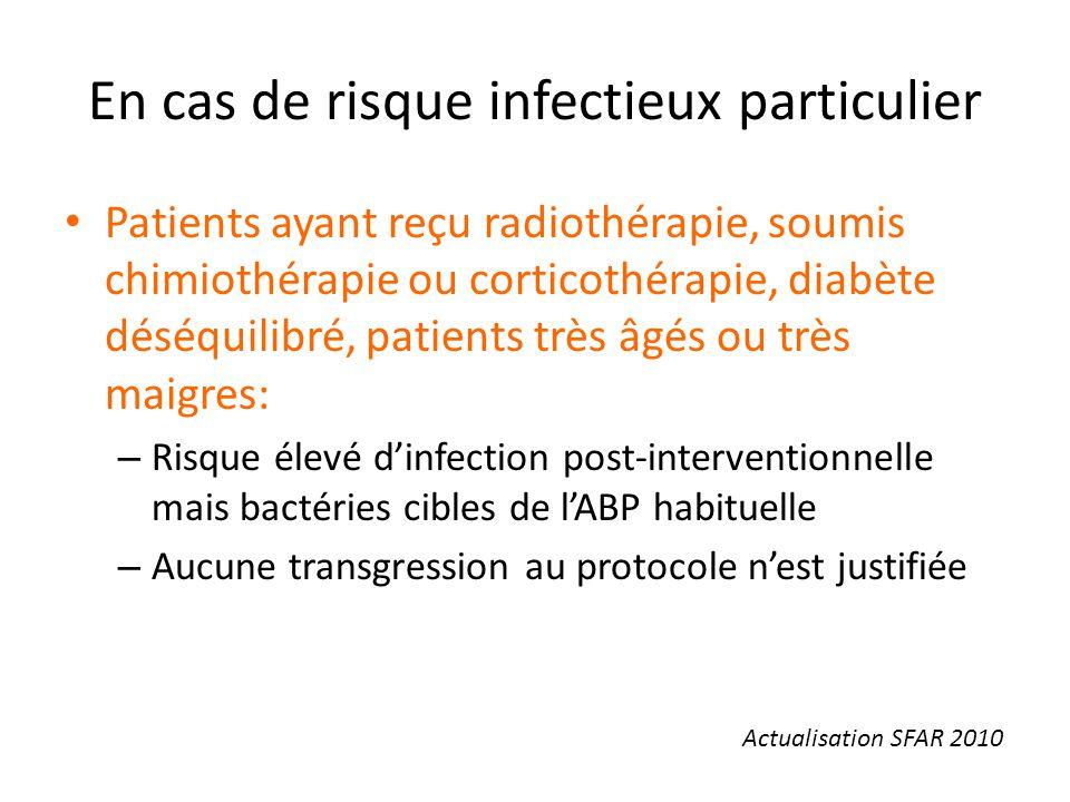 En cas de risque infectieux particulier Patients ayant reçu radiothérapie, soumis chimiothérapie ou corticothérapie, diabète déséquilibré, patients tr